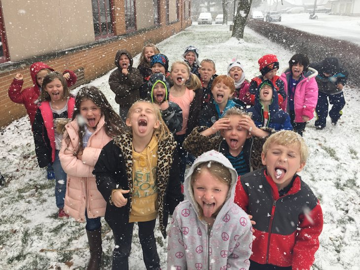 Students in School Activites (Athletics, Classrooms, Plays, Band, Art Projects) (Elmwood Students Catching Snow on tongues.jpg)