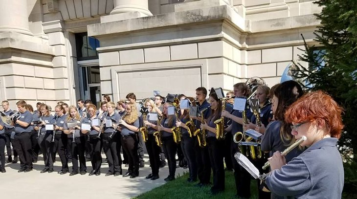 Students in School Activites (Athletics, Classrooms, Plays, Band, Art Projects) (PHS Band Students Playing in front of Court House.jpg)